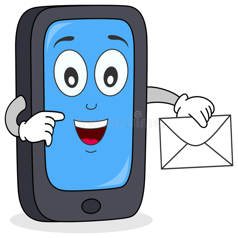 Cell Phone with Mail Character vector illustration
