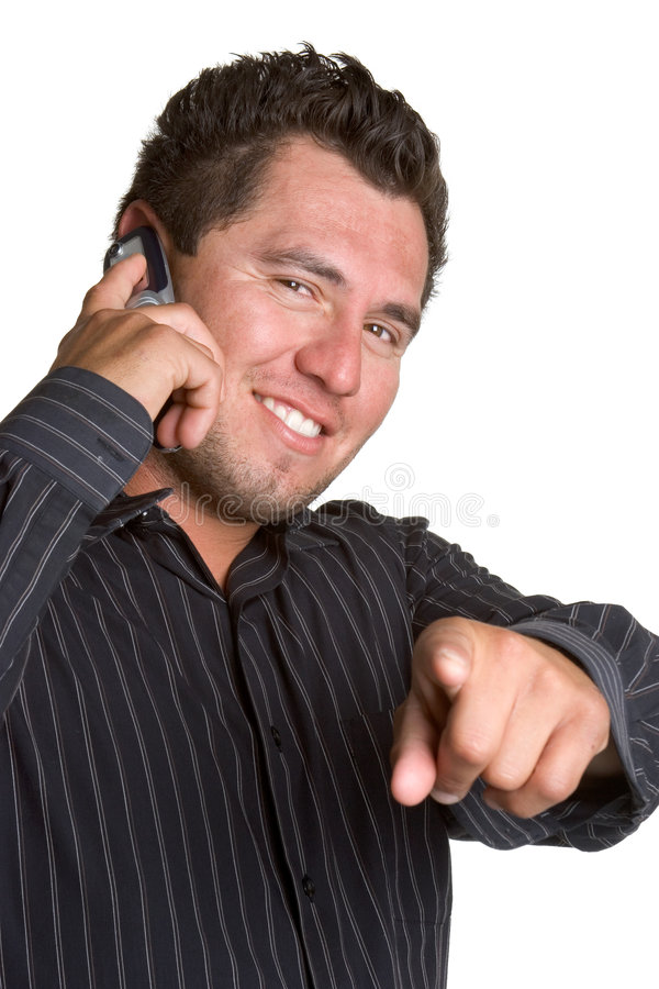 Cell Phone Man. Isolated cell phone man pointing royalty free stock image