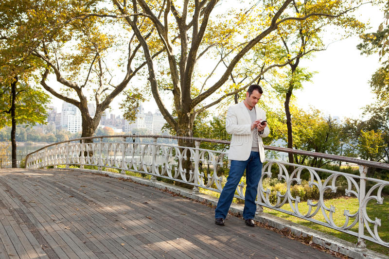 Cell Phone Man Park. A man checking his cell phone in a park royalty free stock image