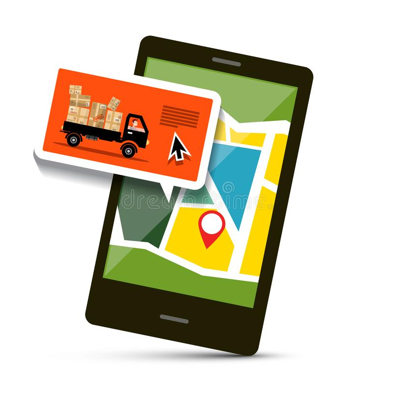 Cell Phone with Map and Van with Parcels. vector illustration