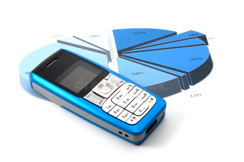 Cell phone over business chart royalty free stock images