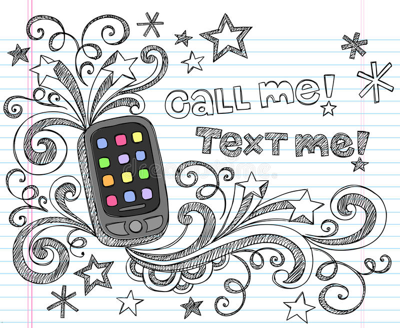 Cell Phone PDA Back to School Doodle Set Vector royalty free illustration