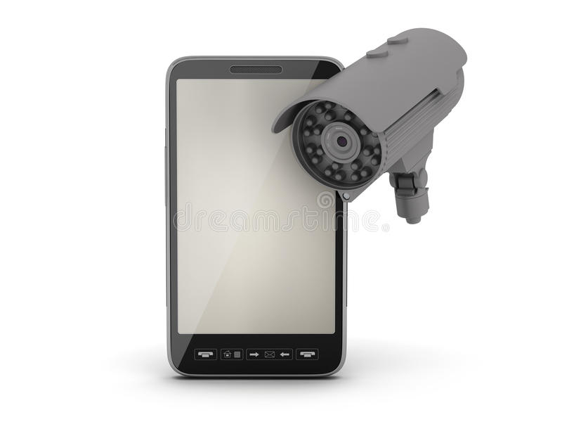 Cell phone and security camera. On white background stock illustration