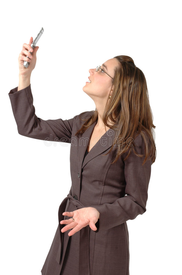 Cell Phone Signal. Business woman cannot get a cell phone signal in her area royalty free stock images