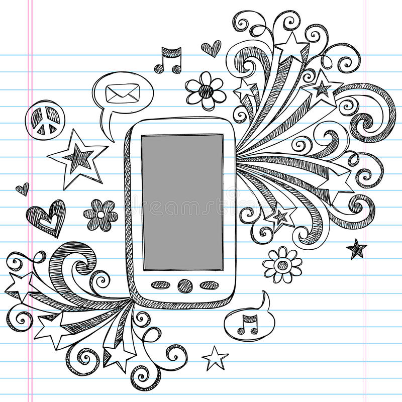 Cell Phone Sketchy Doodles PDA Vector royalty free illustration