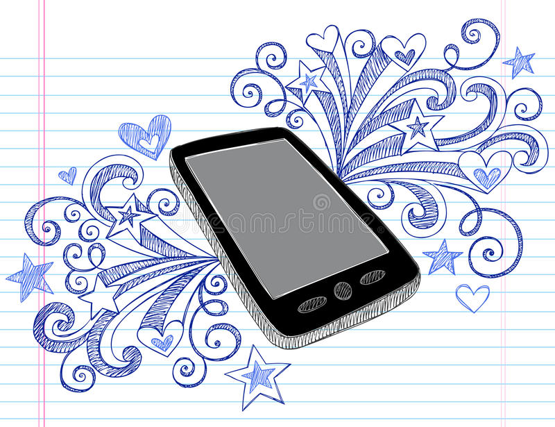 Cell Phone Sketchy Doodles PDA Vector