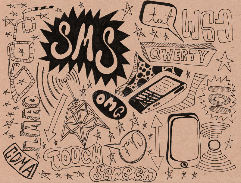 Download Cell Phone Texting Doodles stock illustration. Image of copyspace - 20264323