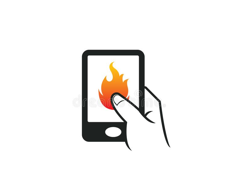 Cell phone touch apps icon for heat hot bbqrestaurant grill burn fire company royalty free illustration
