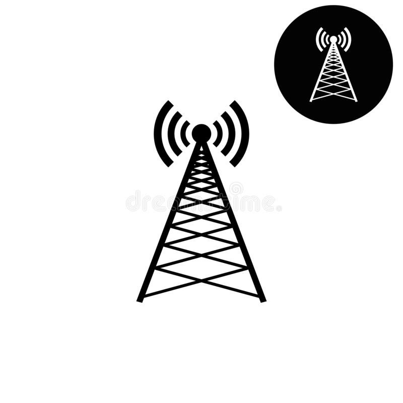 cell phone tower - white vector icon stock vector - illustration of  communication, connection: 138382579  dreamstime.com