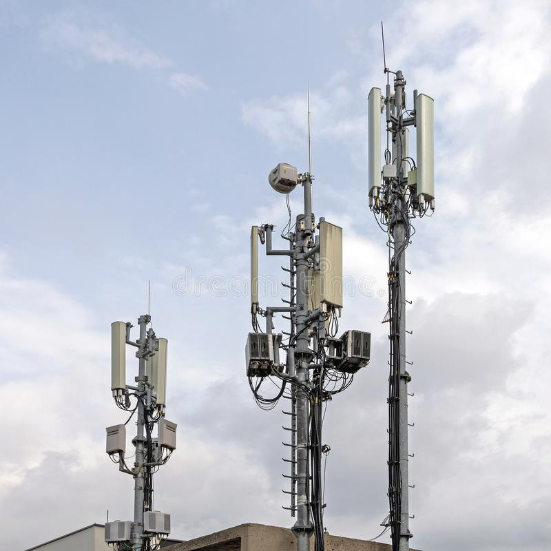 Mast Cell Site. Cell Phone Tower Wireless Internet Antenna Pole Signal royalty free stock images