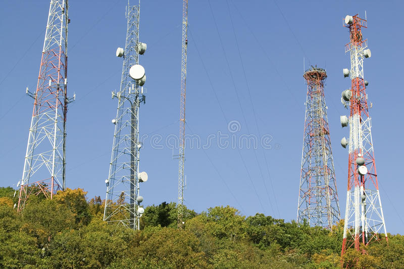 Cell phone towers line highway 95 North of Richmond Virginia stock photo