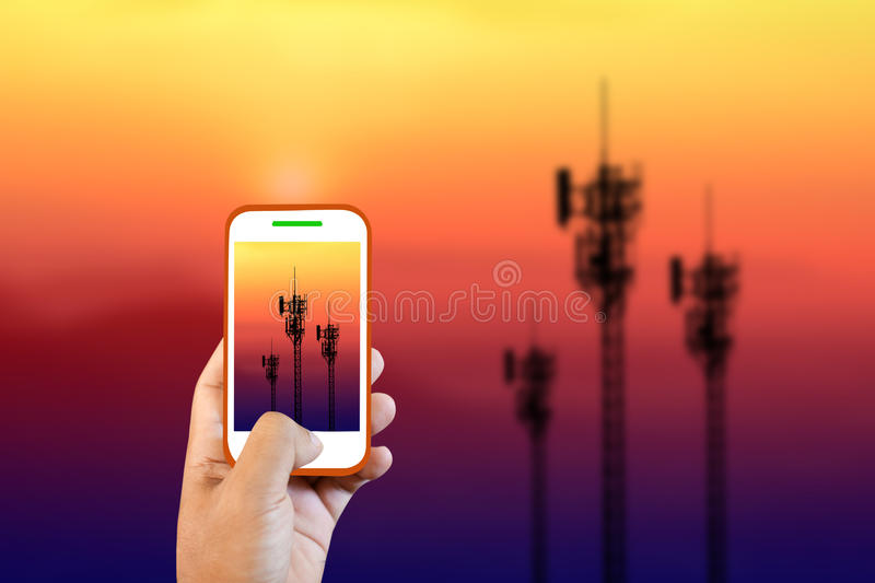 Cell phone towers are shooting. stock images