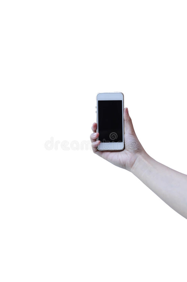 Cell phone in a woman's hand isolated royalty free stock images