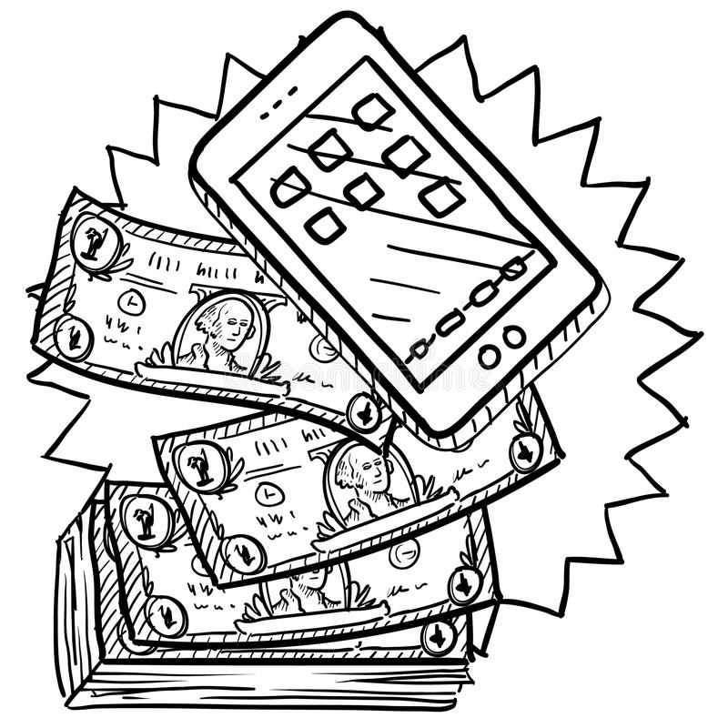 Cell phones are expensive sketch. Doodle style cell phones or mobile devices are expensive illustration in vector format. Includes smartphone and pile of money stock illustration