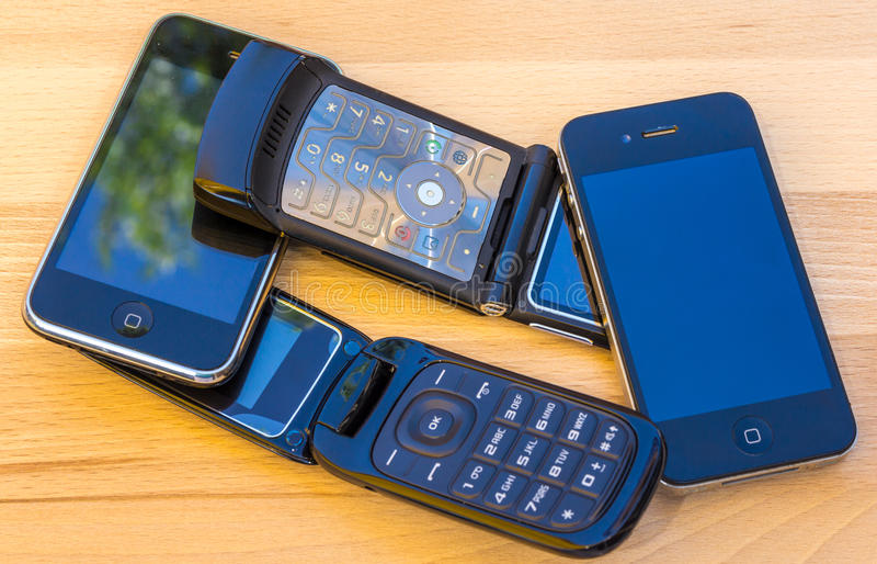 Cell phones. And smart mobile phones stock photography