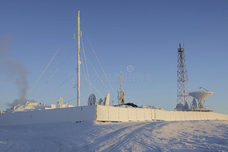Cell site in Chukotka, Russia royalty free stock photography