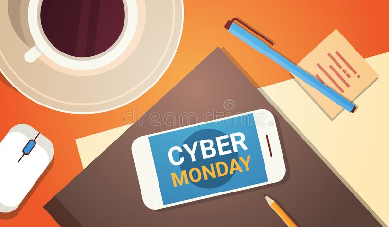 Cell Smart Phone With Cyber Monday Message Over Workplace Above Background Sale Banner Poster Concept. Concept Vector Illustration royalty free illustration
