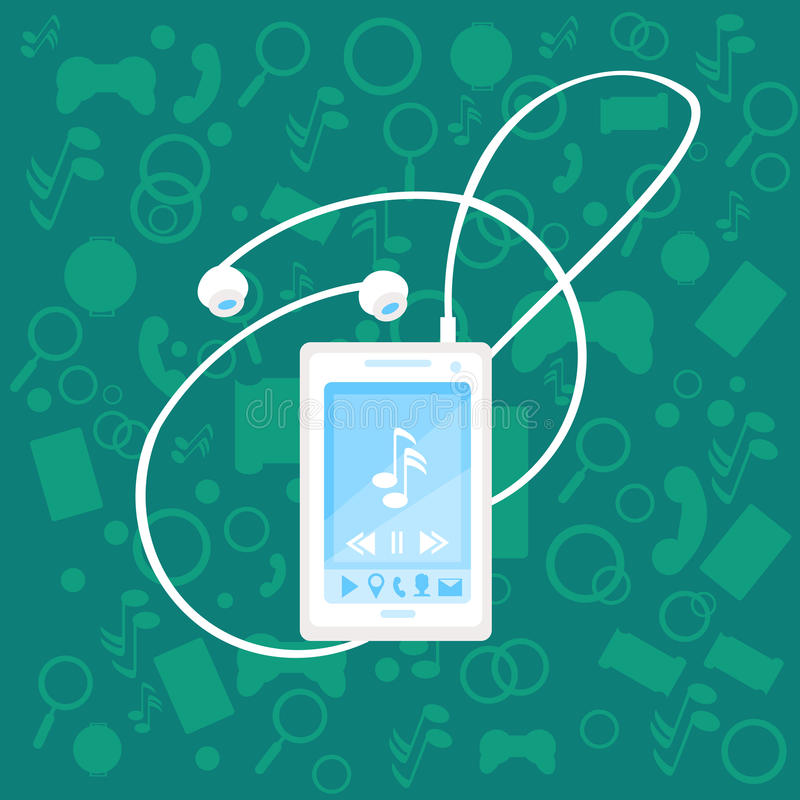 Cell Smart Phone With Earphones Music Player Modern Abstract Mobile Application Background royalty free illustration