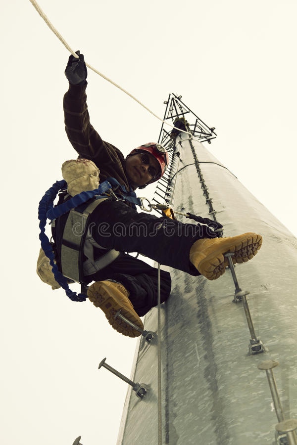 Download Cell Tower Climber stock image. Image of latin, high - 22281633
