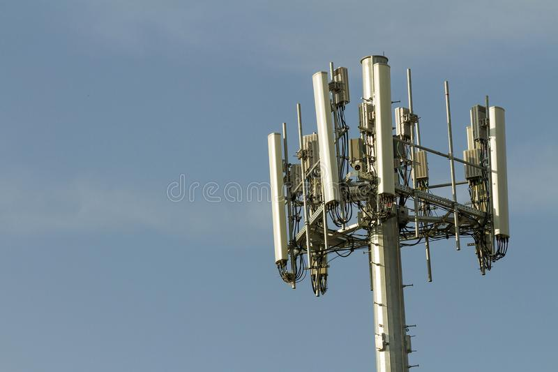 Cell tower. View of a cell tower transmitting data stock photography
