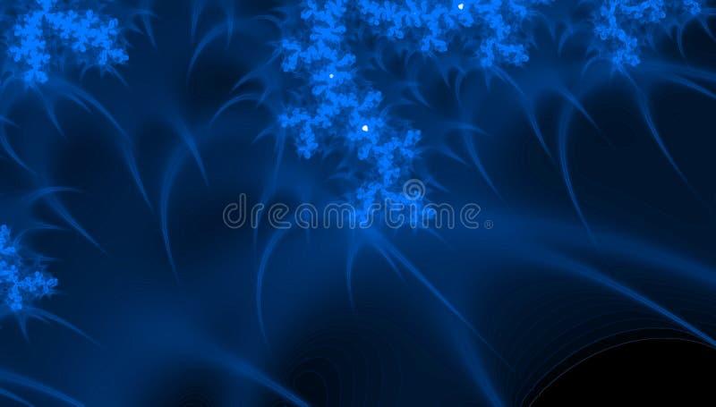 Cell under mikroskopet - fractaldesign i blå färg för neon Abstrakt scienceutrymmebakgrund royaltyfria foton