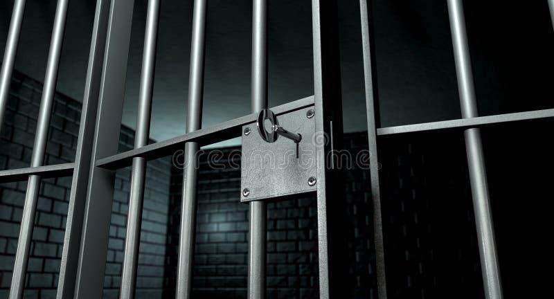 Cella di prigione con la porta aperta fotografia stock