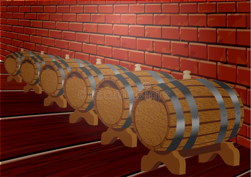 Cellar with barrels royalty free illustration