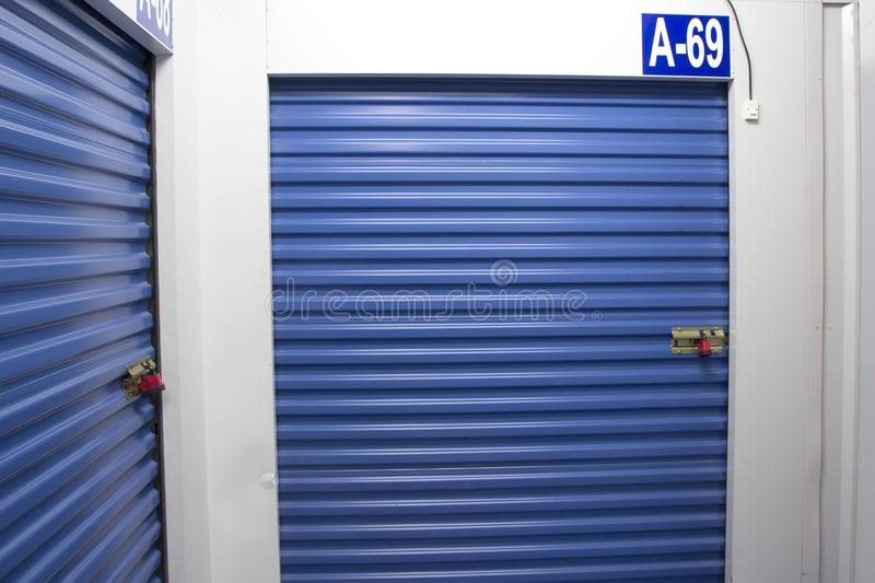 Cellar. Blue curtain cellar, small storage entrance royalty free stock images