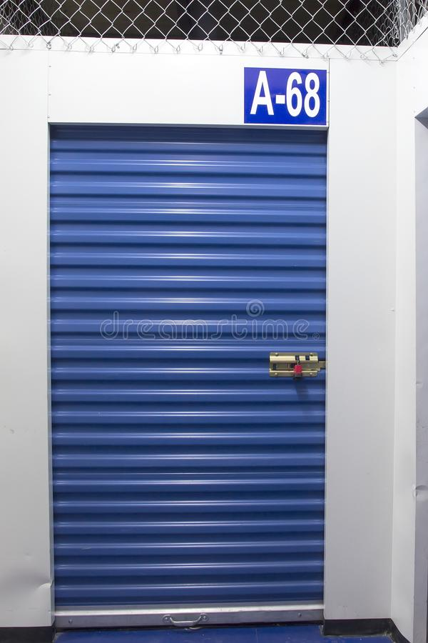 Cellar. Blue curtain cellar, small storage entrance royalty free stock photography