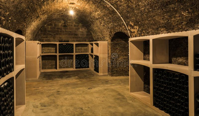 Cellar Charles Mignon. Epernay, France - June 9, 2017: Caves of Champagne Charles Mignon in Epernay, France royalty free stock photos