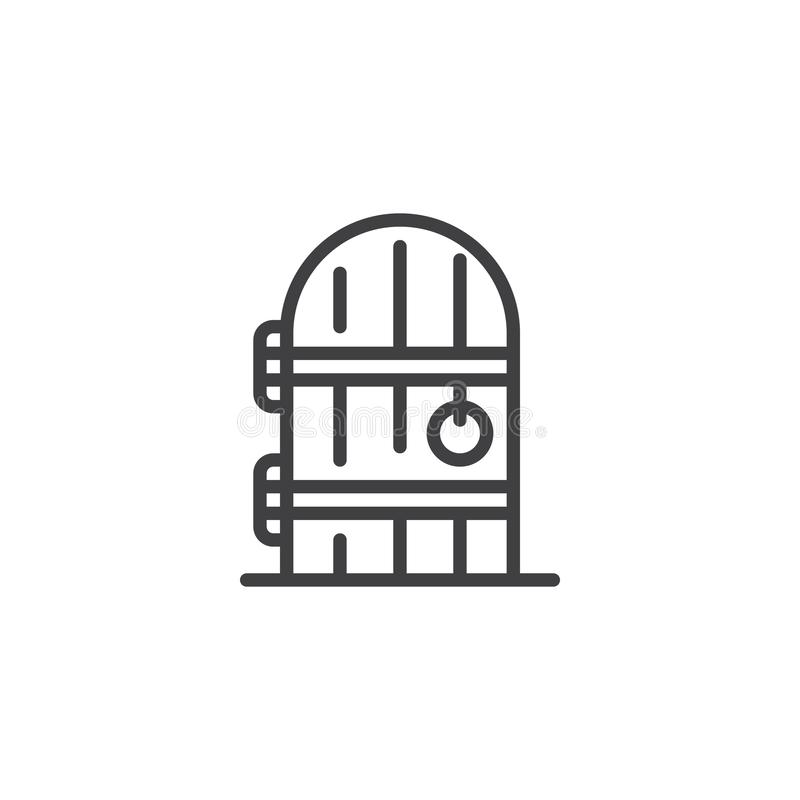 Cellar door outline icon. Linear style sign for mobile concept and web design. Entrance wood doorway simple line vector icon. Symbol, logo illustration. Pixel royalty free illustration