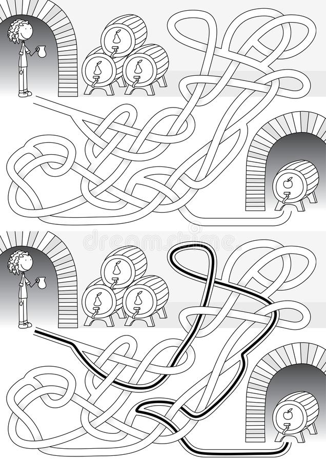Cellar maze. For kids with a solution in black and white vector illustration