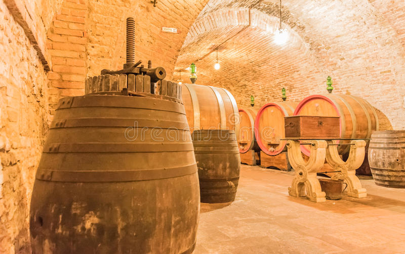 The cellar of Montepulciano. The cellar of wine Nobile di Montepulciano, Tuscany, Siena stock photography