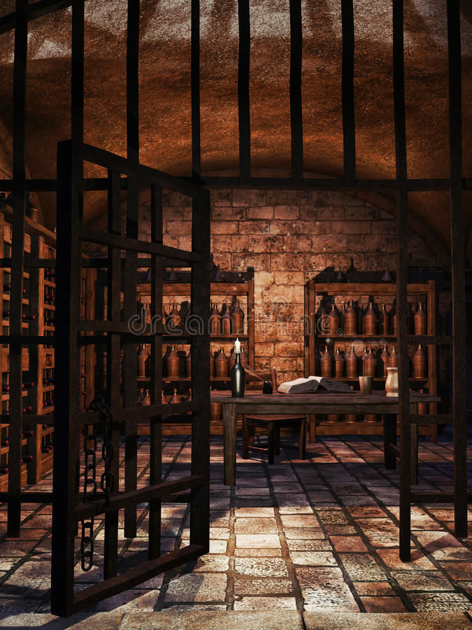 Cellar with wine bottles. Old cellar with wine bottles, table and shelves stock illustration