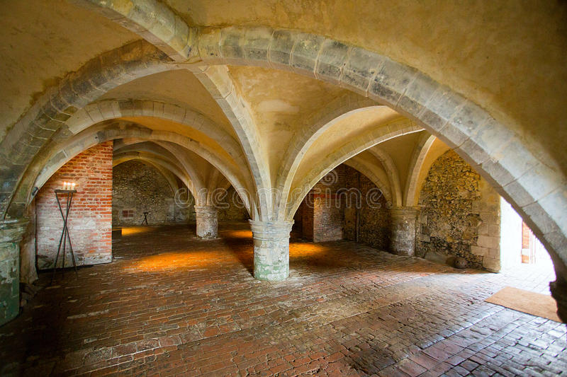 Cellarium Mottisfont Abbey Hampshire England. The early 13th century cellarium located in Mottisfont Abbey. This was originally the undercroft of the priory`s royalty free stock images