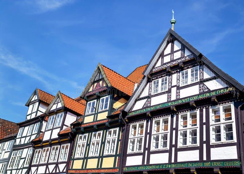 Celle, Duitsland - Mei 1, 2017: Voorgevel van het gebouw in Celle Oude stad in Nedersaksen, Duitsland stock foto