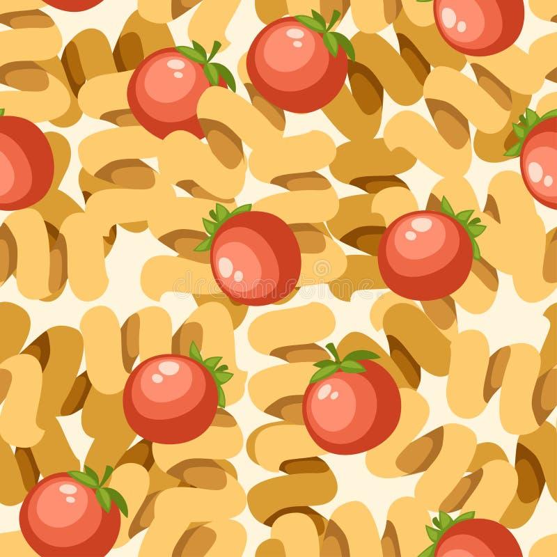 Cellentani макаронных изделий итальянской кухни с томатами E Плоская иллюстрация на белой предпосылке Страница вебсайта и бесплатная иллюстрация
