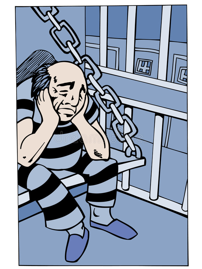 cellfängelsefång royaltyfri illustrationer
