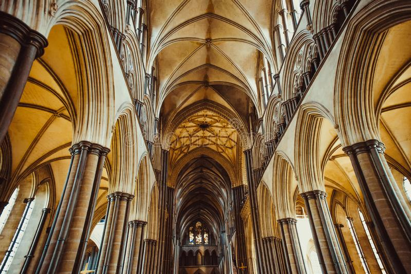 Celling inside the Salisbury Cathedral, England. Medevial architecture. Selective focus. copy space. stock images