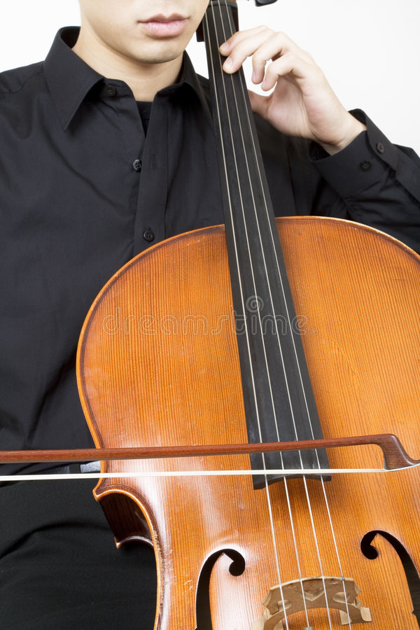 Cellist bowing 3. Close up royalty free stock photo