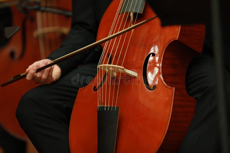 Cellist med det klassiska musikinstrumentet i mörker Kompositör musik Stående av cellisten som spelar klassisk musik på violoncel royaltyfri foto