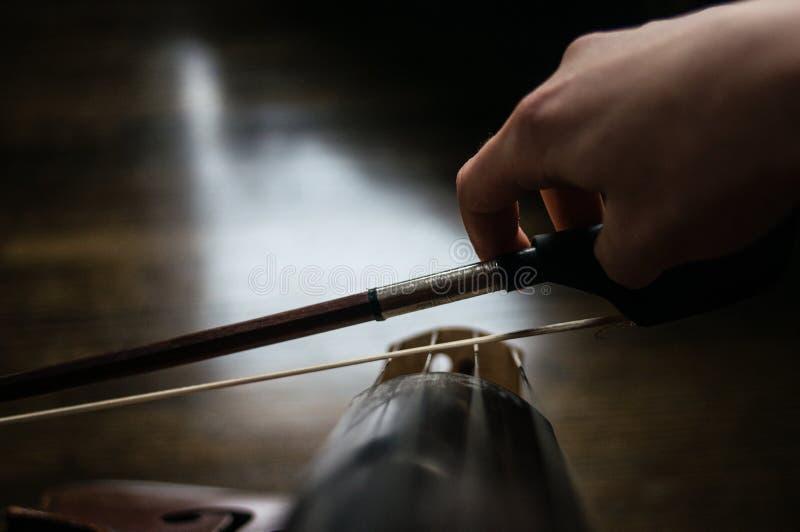 Cellist med en pilbåge fotografering för bildbyråer