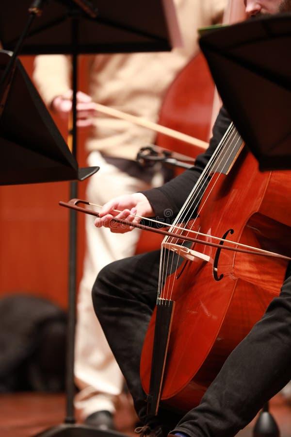 Cellist met klassiek muzikaal instrument in duisternis Componist, muziek Portret die van cellist klassieke muziek op cello op zwa stock fotografie