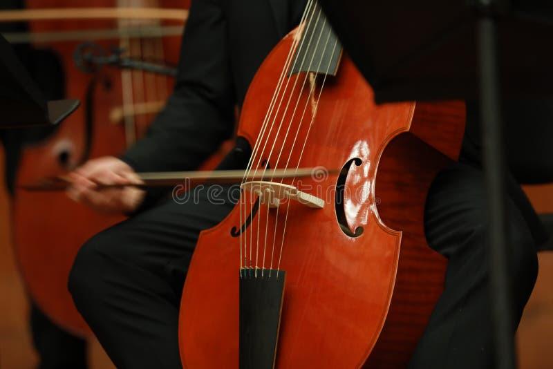 Cellist met klassiek muzikaal instrument in duisternis Componist, muziek Portret die van cellist klassieke muziek op cello op zwa royalty-vrije stock foto