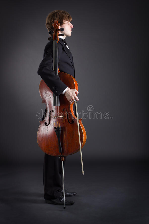 Cellist und Cello lizenzfreie stockfotos