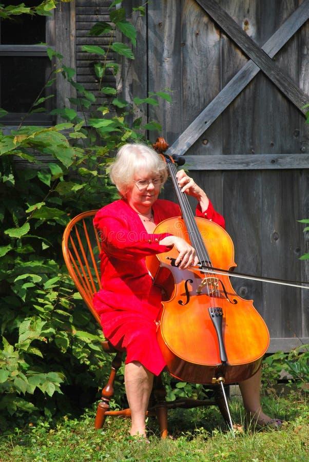 cellistkvinnlig royaltyfri bild