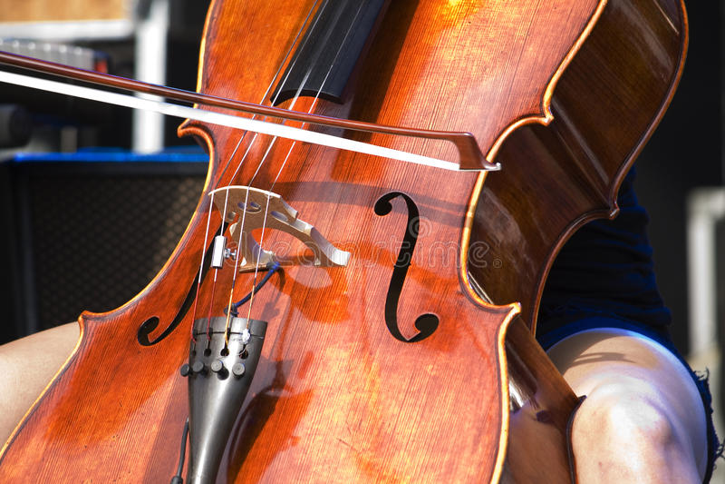 Cello. Close Up of a Cello played by a girl stock photos