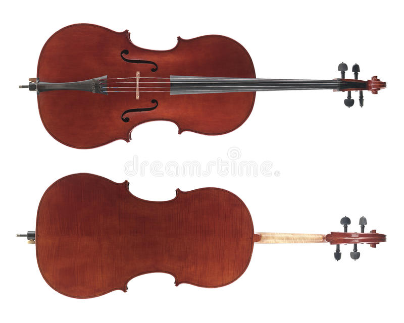 Cello. Front and back of cello stringed instrument royalty free stock photos