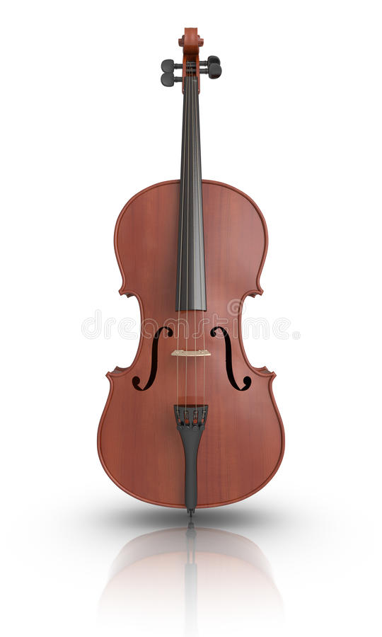 Cello. 3D rendered Cello on reflective ground vector illustration