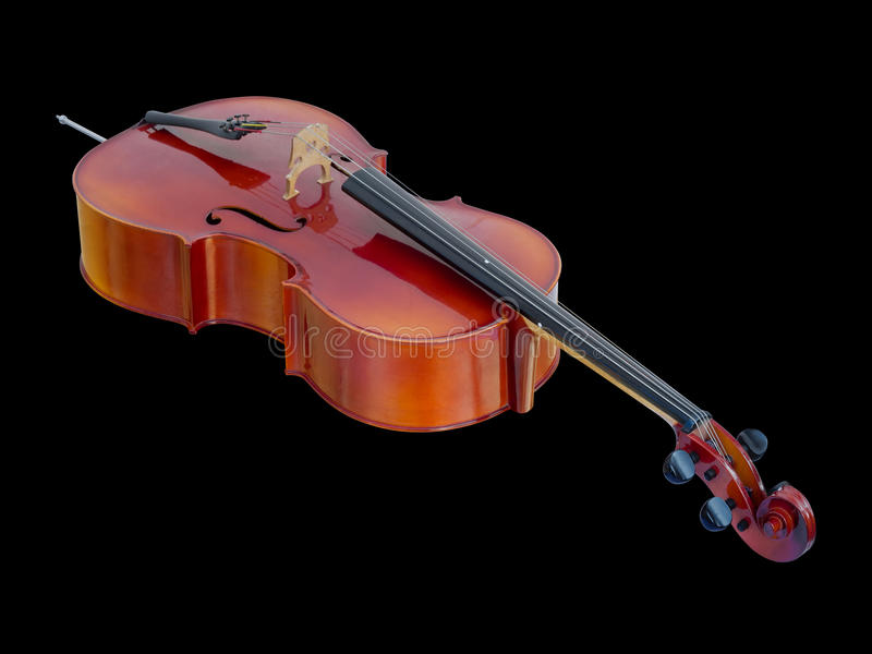 Cello on Black Background isolated. New Lying Cello on Black Background isolated with Path royalty free stock images
